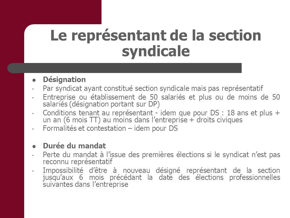 Le représentant de la section syndicale Désignation - Par syndicat ayant constitué section syndicale mais pas représentatif - Entreprise ou établissem