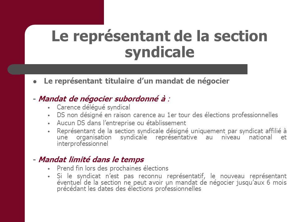Le représentant de la section syndicale Le représentant titulaire dun mandat de négocier - Mandat de négocier subordonné à : Carence délégué syndical