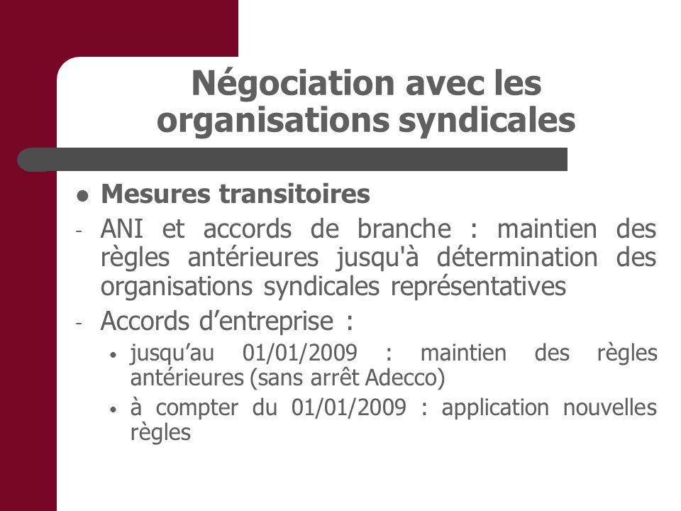 Négociation avec les organisations syndicales Mesures transitoires - ANI et accords de branche : maintien des règles antérieures jusqu'à détermination
