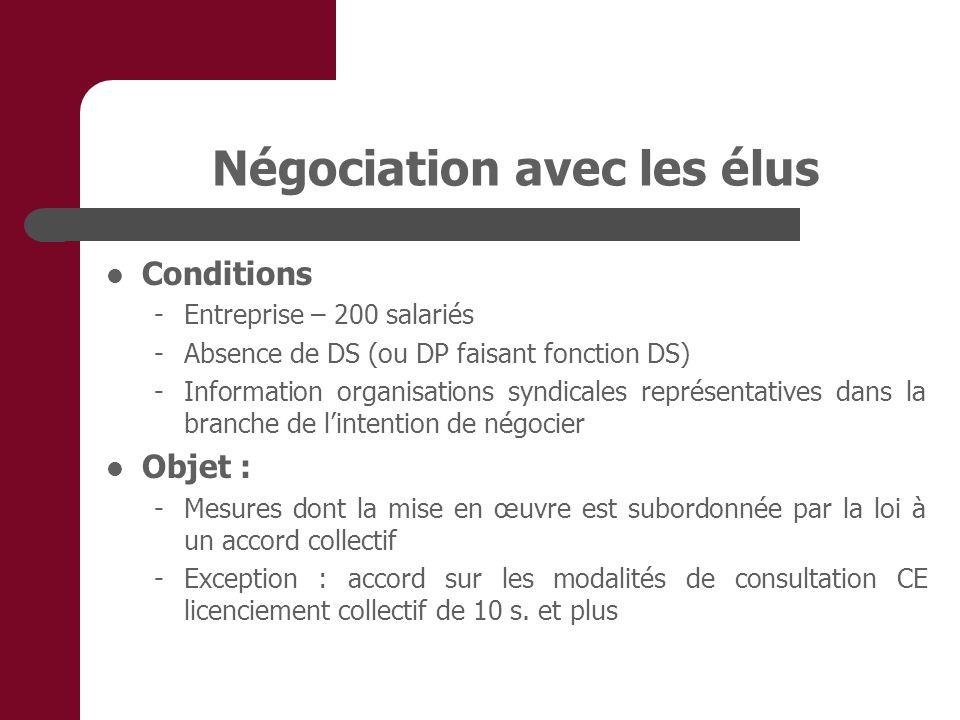 Négociation avec les élus Conditions - Entreprise – 200 salariés -Absence de DS (ou DP faisant fonction DS) -Information organisations syndicales repr