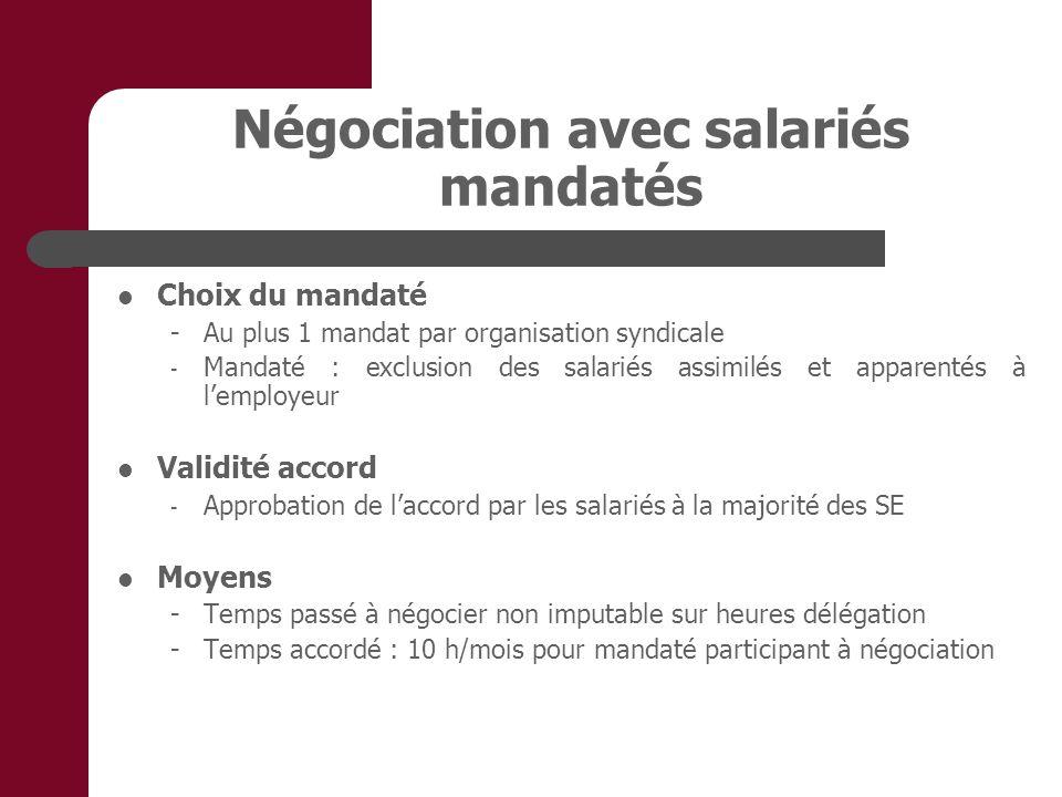 Négociation avec salariés mandatés Choix du mandaté - Au plus 1 mandat par organisation syndicale - Mandaté : exclusion des salariés assimilés et appa
