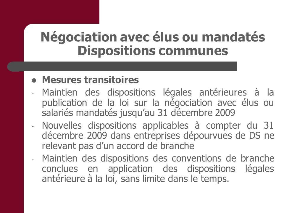 Négociation avec élus ou mandatés Dispositions communes Mesures transitoires - Maintien des dispositions légales antérieures à la publication de la lo