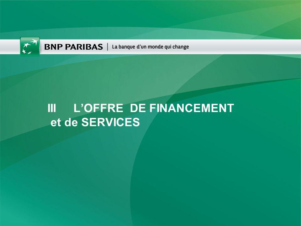 III LOFFRE DE FINANCEMENT et de SERVICES