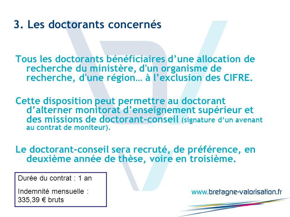 3. Les doctorants concernés Tous les doctorants bénéficiaires dune allocation de recherche du ministère, d'un organisme de recherche, d'une région… à