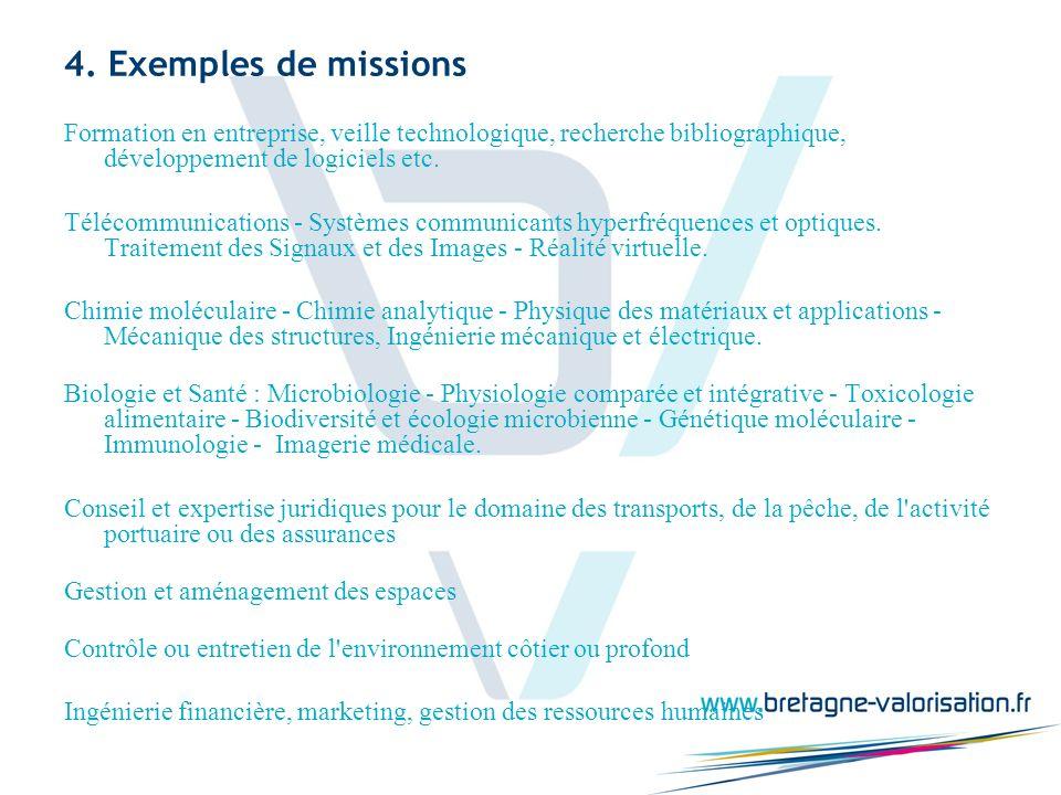 4. Exemples de missions Formation en entreprise, veille technologique, recherche bibliographique, développement de logiciels etc. Télécommunications -