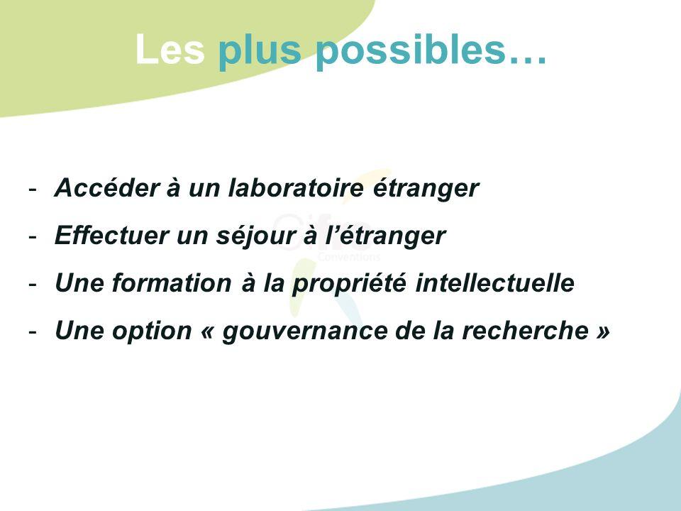 Les plus possibles… -Accéder à un laboratoire étranger -Effectuer un séjour à létranger -Une formation à la propriété intellectuelle -Une option « gouvernance de la recherche »