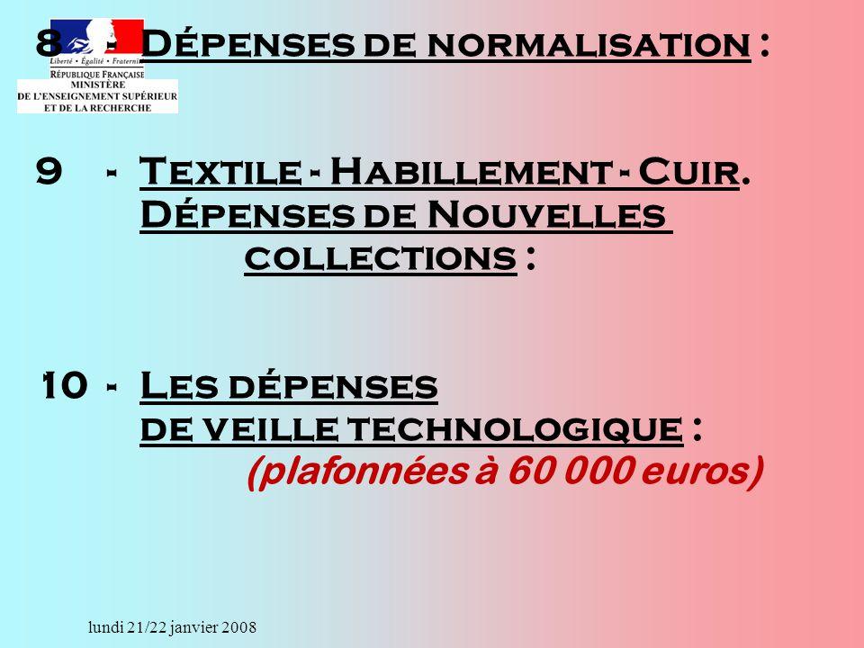 lundi 21/22 janvier 2008 8-Dépenses de normalisation : 9-Textile - Habillement - Cuir.