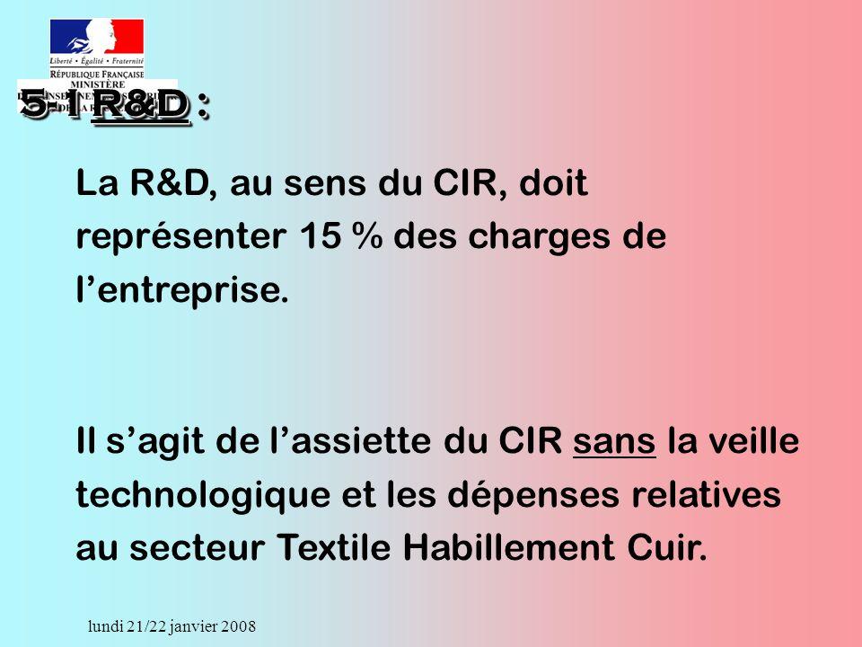 lundi 21/22 janvier 2008 La R&D, au sens du CIR, doit représenter 15 % des charges de lentreprise.