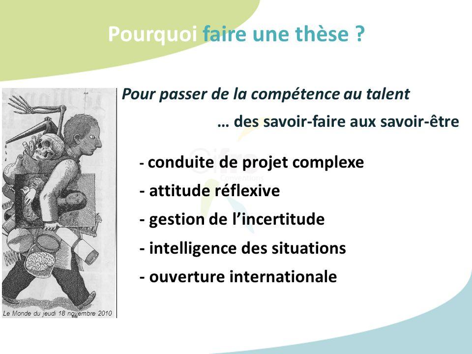 Pourquoi faire une thèse ? Pour passer de la compétence au talent … des savoir-faire aux savoir-être - conduite de projet complexe - attitude réflexiv