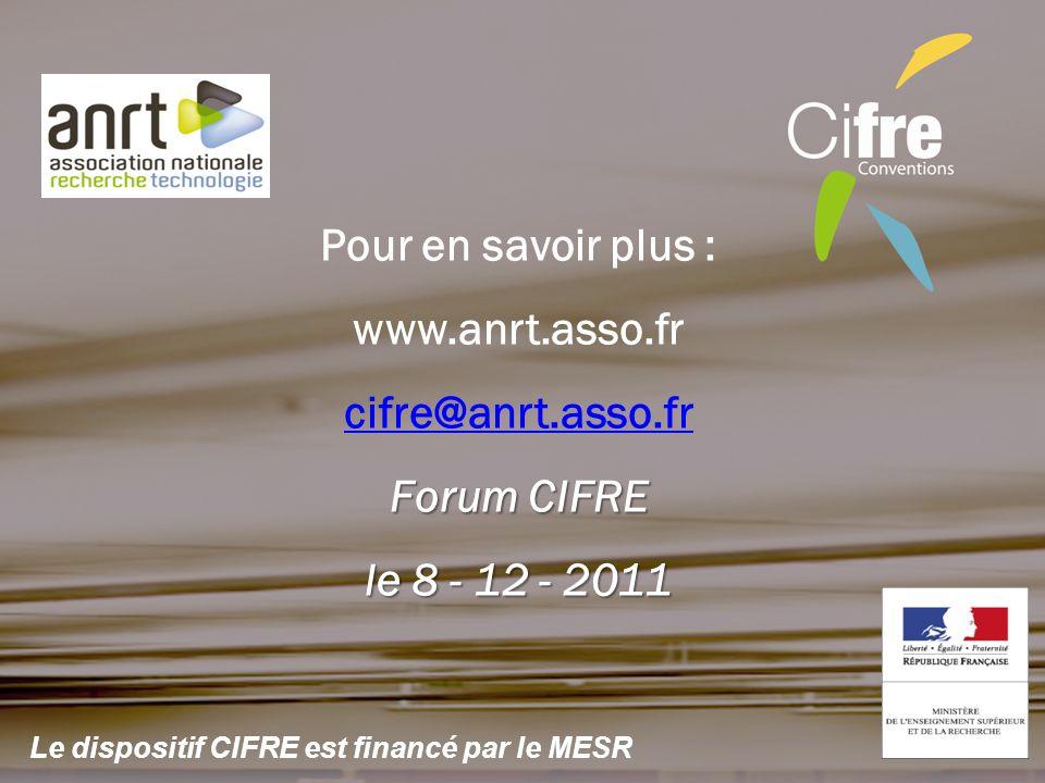 Pour en savoir plus : www.anrt.asso.fr cifre@anrt.asso.fr Forum CIFRE le 8 - 12 - 2011 Le dispositif CIFRE est financé par le MESR