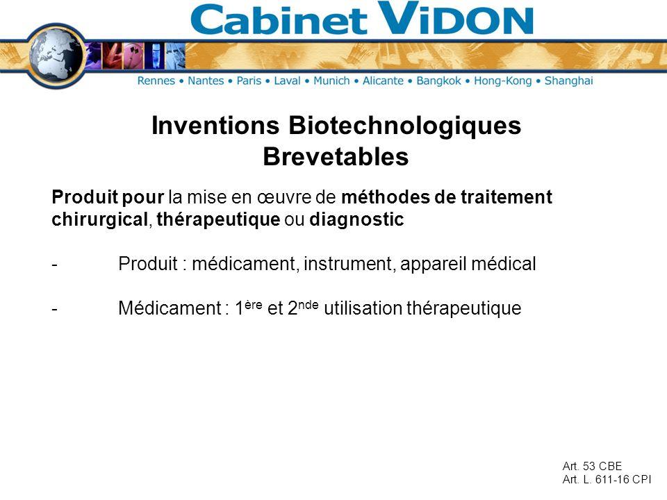 Inventions Biotechnologiques Brevetables Produit pour la mise en œuvre de méthodes de traitement chirurgical, thérapeutique ou diagnostic -Produit : m