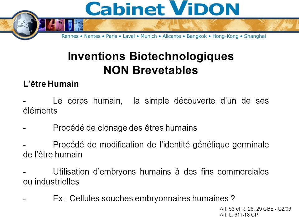 Inventions Biotechnologiques NON Brevetables Lêtre Humain -Le corps humain, la simple découverte dun de ses éléments -Procédé de clonage des êtres hum
