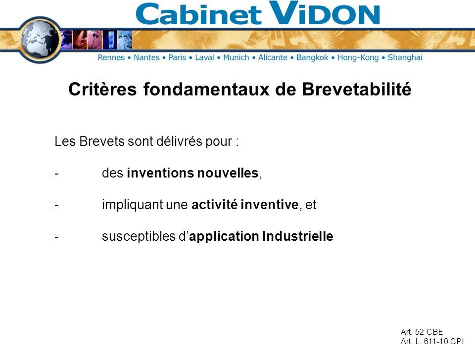 Critères fondamentaux de Brevetabilité Les Brevets sont délivrés pour : -des inventions nouvelles, -impliquant une activité inventive, et -susceptible