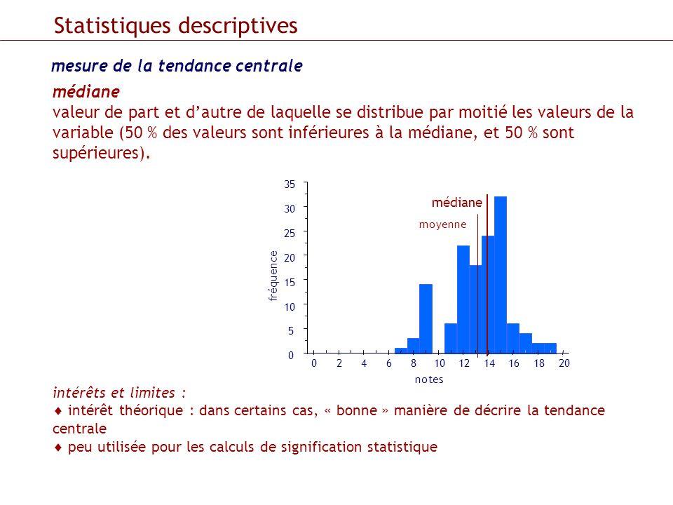 mesure de la tendance centrale Statistiques descriptives médiane valeur de part et dautre de laquelle se distribue par moitié les valeurs de la variab