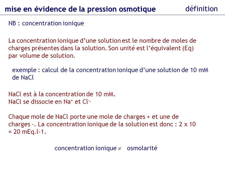 mise en évidence dela pression osmotique mise en évidence de la pression osmotique définition NB : concentration ionique La concentration ionique dune