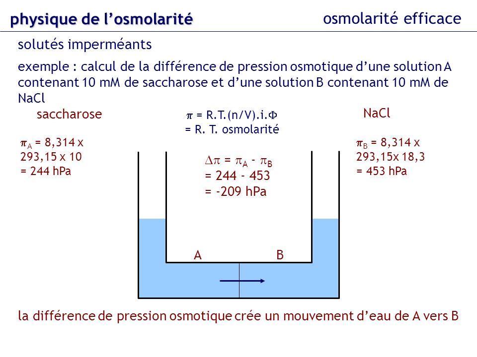 osmolarité efficace solutés imperméants exemple : calcul de la différence de pression osmotique dune solution A contenant 10 mM de saccharose et dune