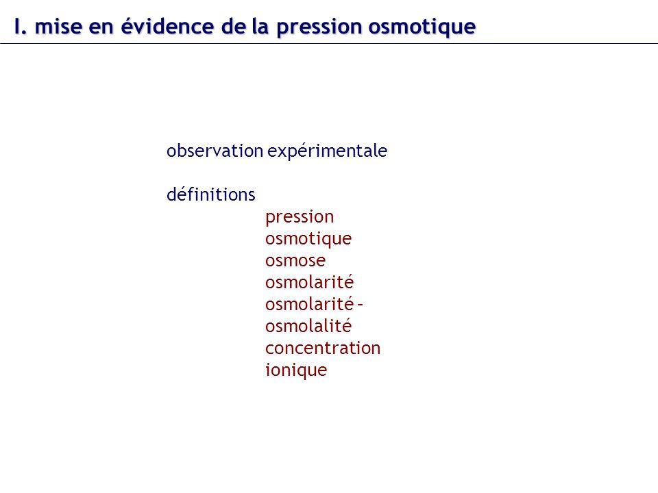 I. mise en évidence dela pression osmotique I. mise en évidence de la pression osmotique observation expérimentale définitions pression osmotique osmo