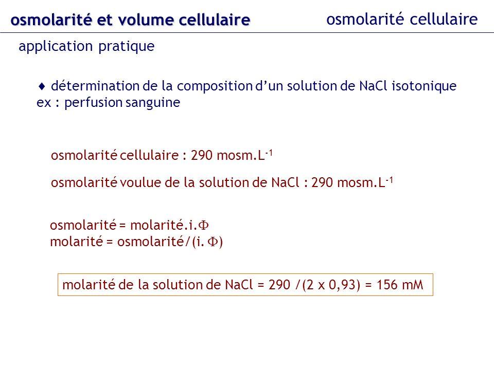 osmolarité cellulaire osmolarité et volume cellulaire application pratique détermination de la composition dun solution de NaCl isotonique ex : perfus