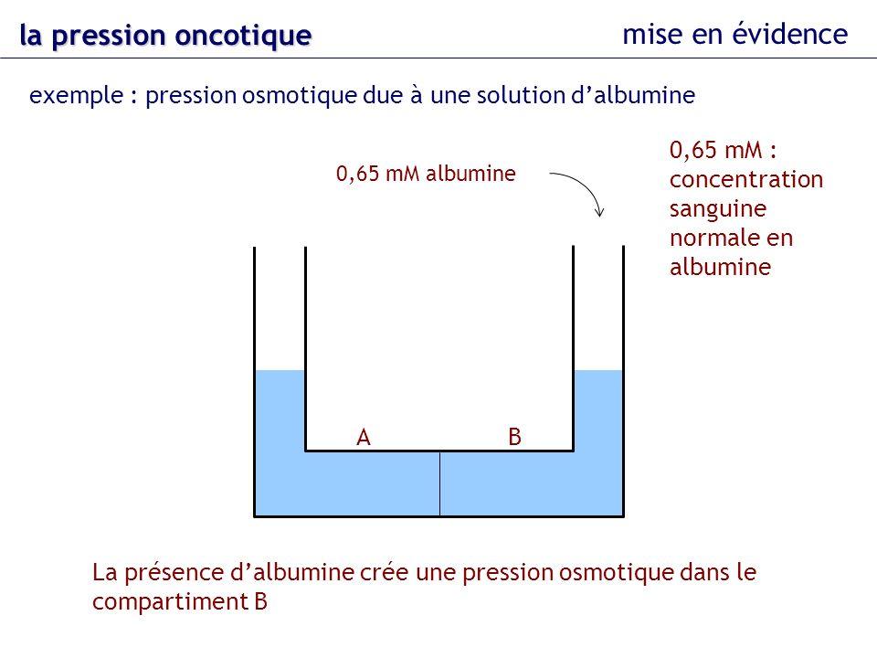 exemple : pression osmotique due à une solution dalbumine AB La présence dalbumine crée une pression osmotique dans le compartiment B la pression onco
