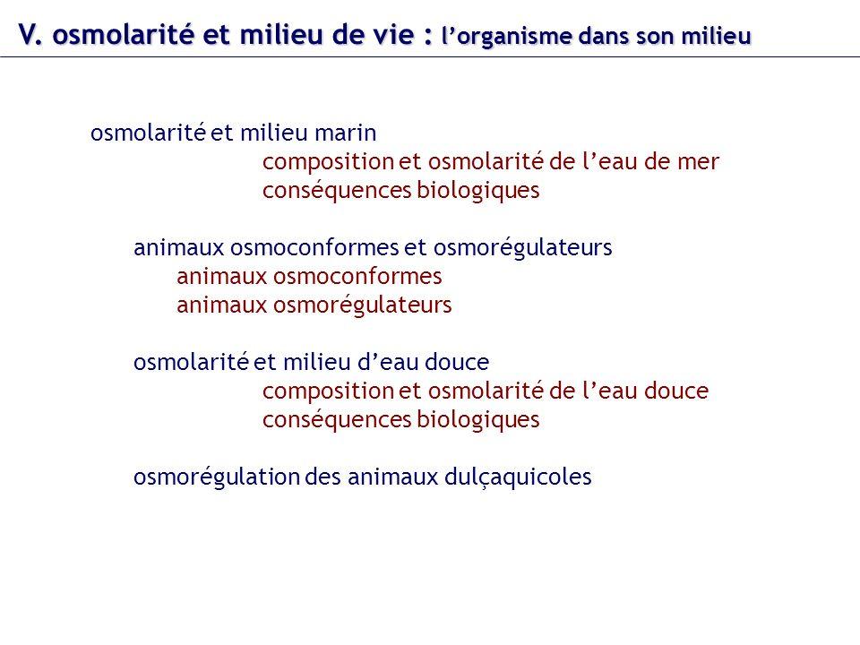 V. osmolarité et milieu de vie : lorganisme dans son milieu osmolarité et milieu marin composition et osmolarité de leau de mer conséquences biologiqu