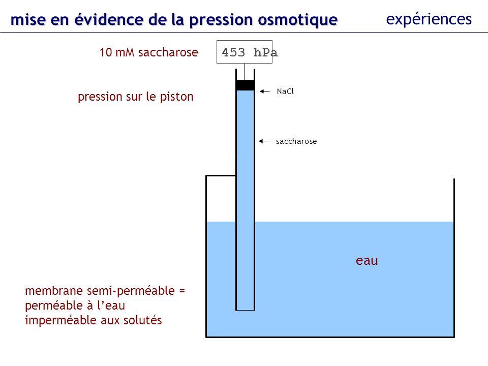 eau 10 mM saccharose membrane semi-perméable = perméable à leau imperméable aux solutés pression sur le piston NaCl saccharose 453 hPa mise en évidenc