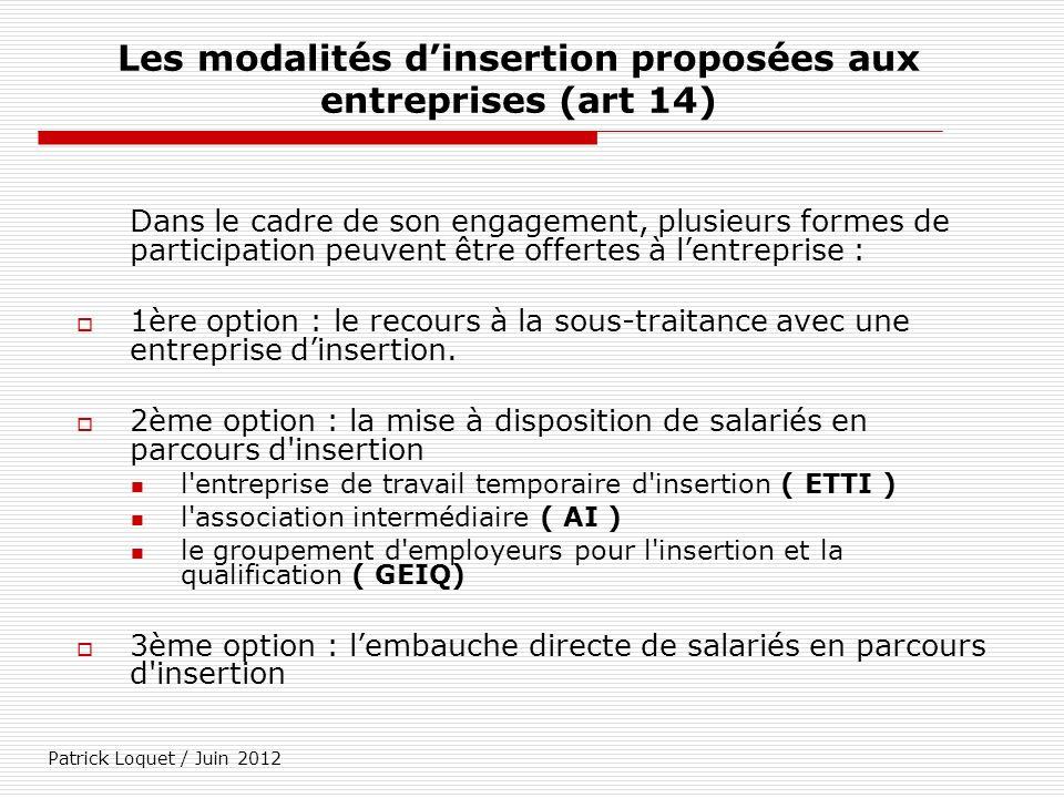 Patrick Loquet / Juin 2012 Les modalités dinsertion proposées aux entreprises (art 14) Dans le cadre de son engagement, plusieurs formes de participat
