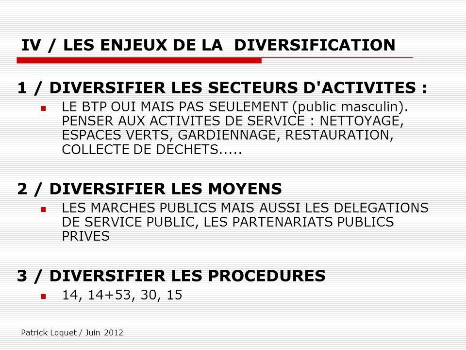 Patrick Loquet / Juin 2012 IV / LES ENJEUX DE LA DIVERSIFICATION 1 / DIVERSIFIER LES SECTEURS D'ACTIVITES : LE BTP OUI MAIS PAS SEULEMENT (public masc