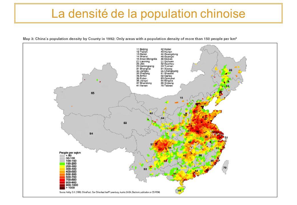 La densité de la population chinoise
