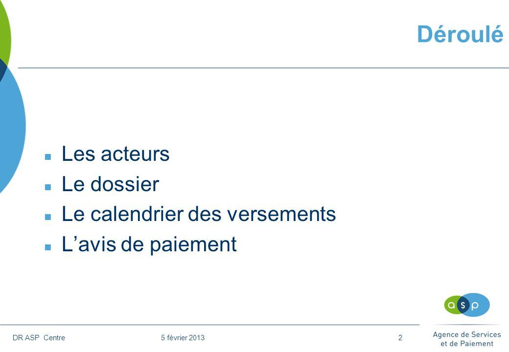 DR ASP Centre 5 février 20132 Déroulé n Les acteurs n Le dossier n Le calendrier des versements n Lavis de paiement