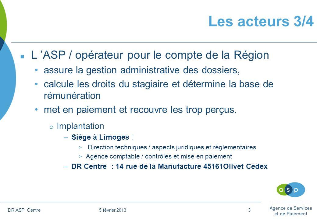 DR ASP Centre 5 février 20133 Les acteurs 3/4 n L ASP / opérateur pour le compte de la Région assure la gestion administrative des dossiers, calcule l
