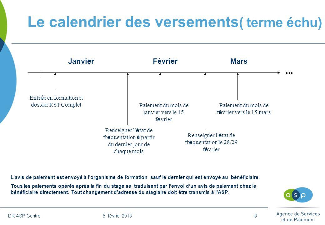 DR ASP Centre 5 février 20138 Le calendrier des versements ( terme échu) Entr é e en formation et dossier RS1 Complet Renseigner l é tat de fr é quent