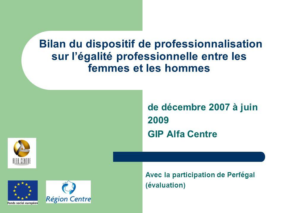 de décembre 2007 à juin 2009 GIP Alfa Centre Bilan du dispositif de professionnalisation sur légalité professionnelle entre les femmes et les hommes A