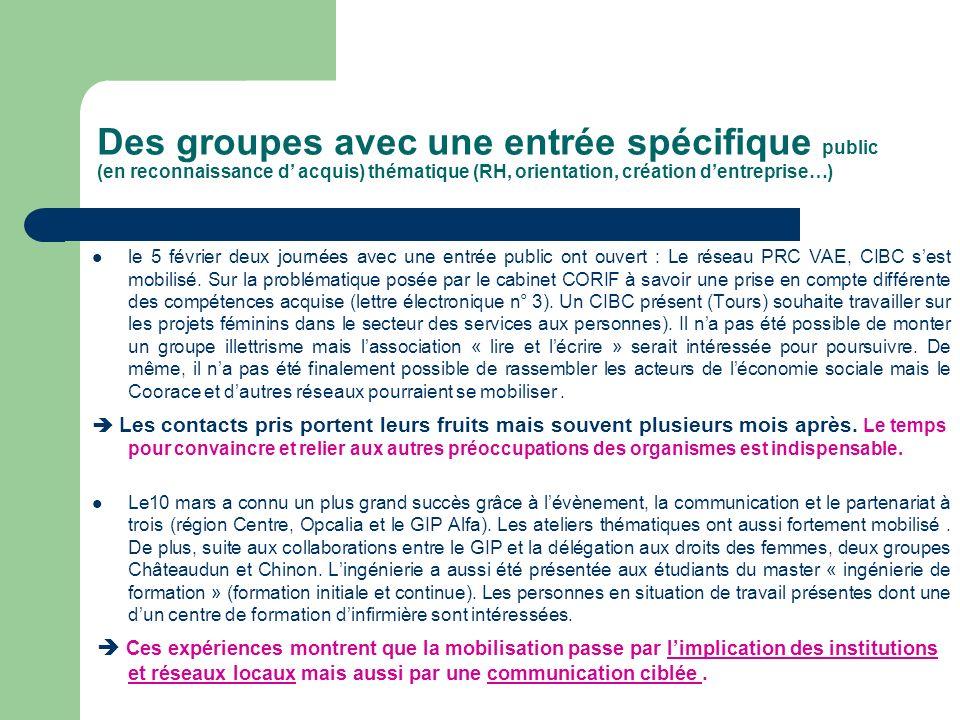 Des groupes avec une entrée spécifique public (en reconnaissance d acquis) thématique (RH, orientation, création dentreprise…) le 5 février deux journ