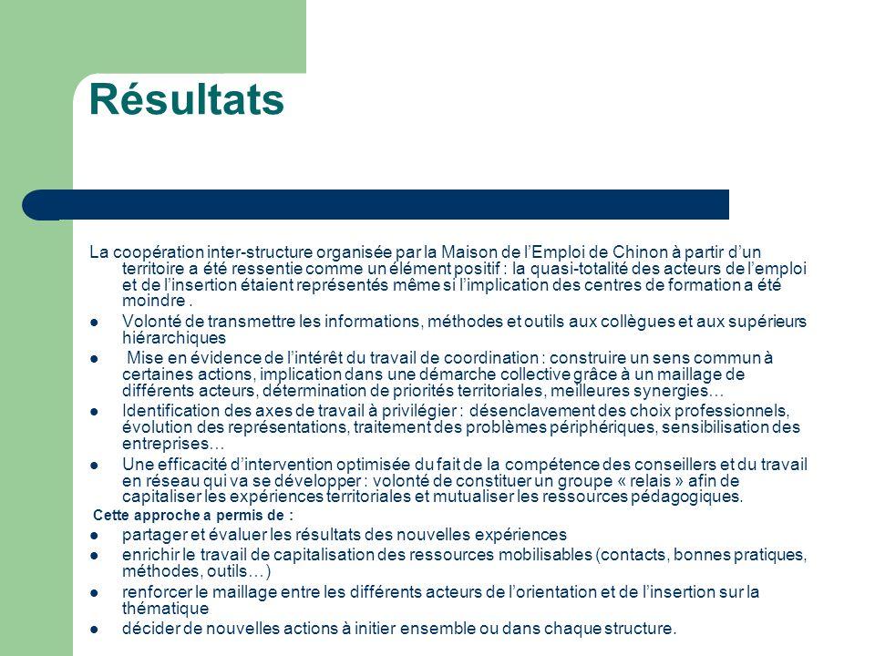 Résultats La coopération inter-structure organisée par la Maison de lEmploi de Chinon à partir dun territoire a été ressentie comme un élément positif