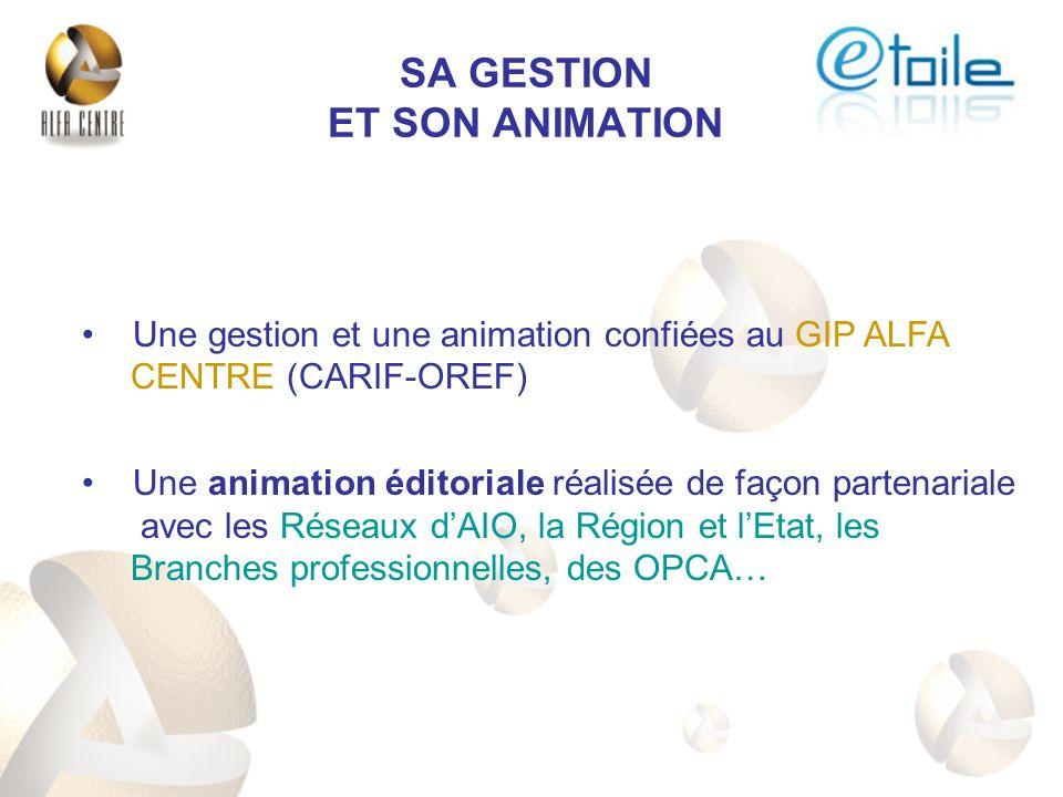 Une gestion et une animation confiées au GIP ALFA CENTRE (CARIF-OREF) Une animation éditoriale réalisée de façon partenariale avec les Réseaux dAIO, la Région et lEtat, les Branches professionnelles, des OPCA… SA GESTION ET SON ANIMATION