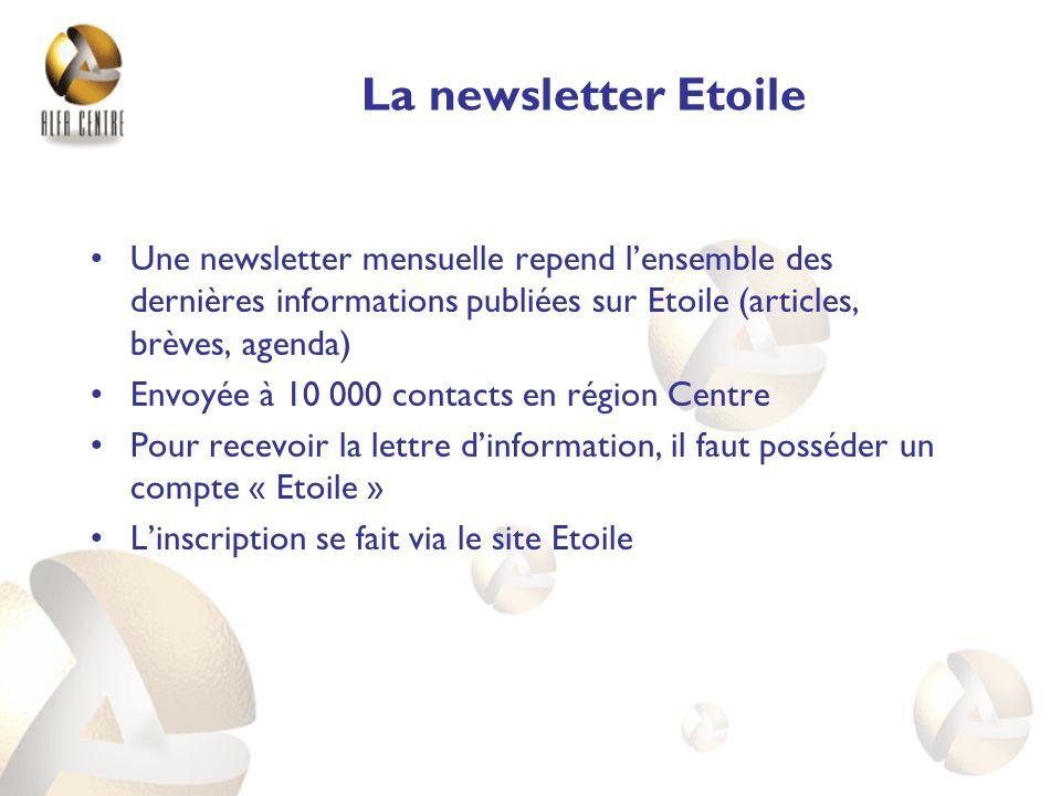 La newsletter Etoile Une newsletter mensuelle repend lensemble des dernières informations publiées sur Etoile (articles, brèves, agenda) Envoyée à 10