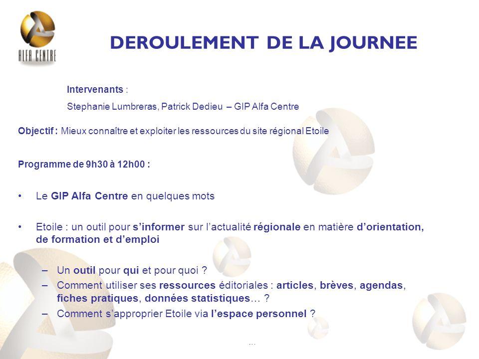 DEROULEMENT DE LA JOURNEE Objectif : Mieux connaître et exploiter les ressources du site régional Etoile Programme de 9h30 à 12h00 : Le GIP Alfa Centr