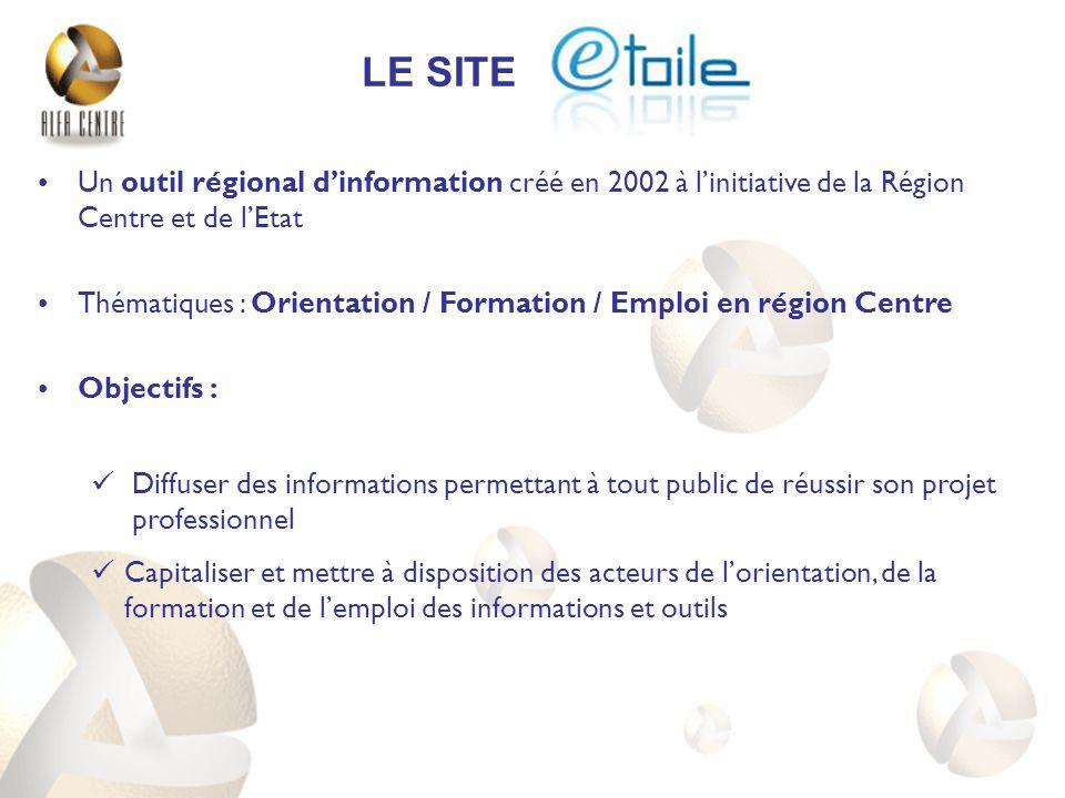 Un outil régional dinformation créé en 2002 à linitiative de la Région Centre et de lEtat Thématiques : Orientation / Formation / Emploi en région Cen