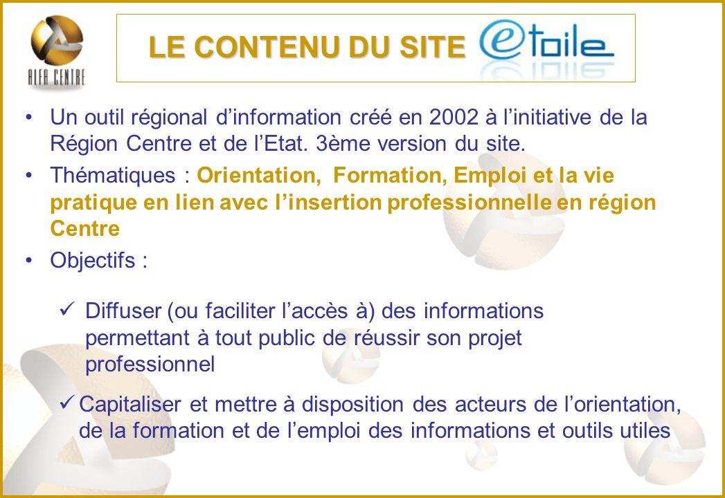 Un outil régional dinformation créé en 2002 à linitiative de la Région Centre et de lEtat. 3ème version du site. Thématiques : Orientation, Formation,