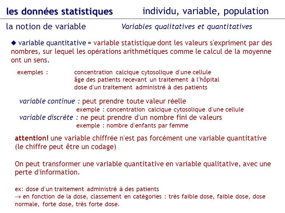 variable quantitative = variable statistique dont les valeurs s'expriment par des nombres, sur lequel les op é rations arithm é tiques comme le calcul