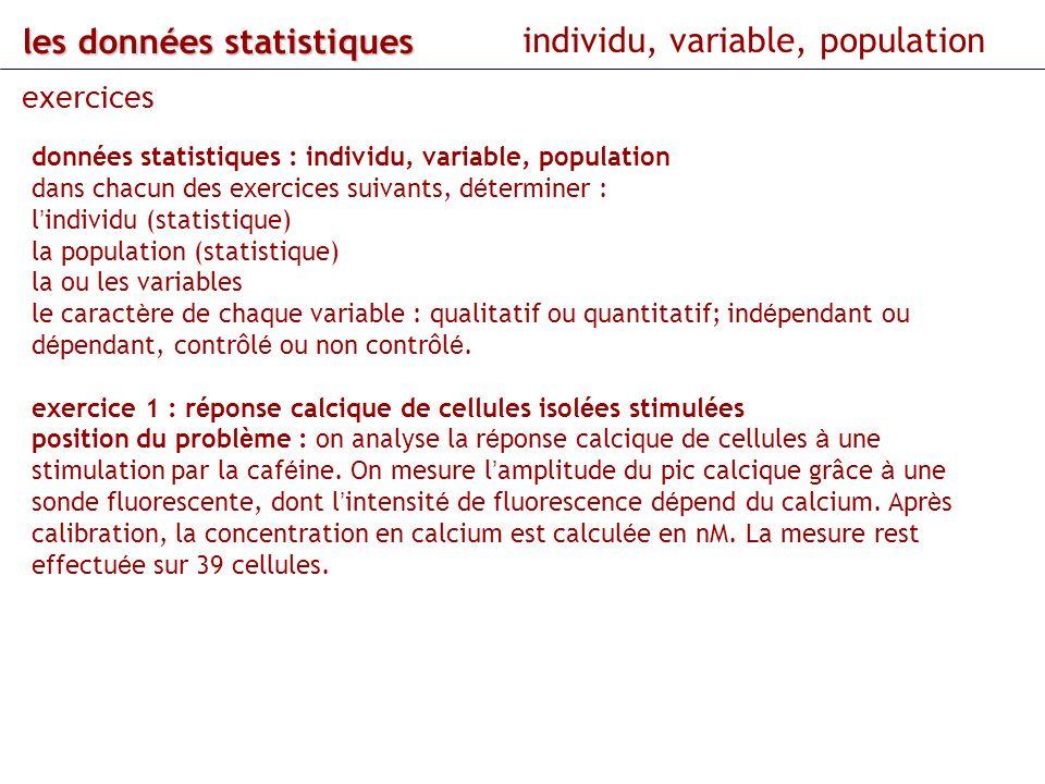les données statistiques individu, variable, population exercices donn é es statistiques : individu, variable, population dans chacun des exercices su