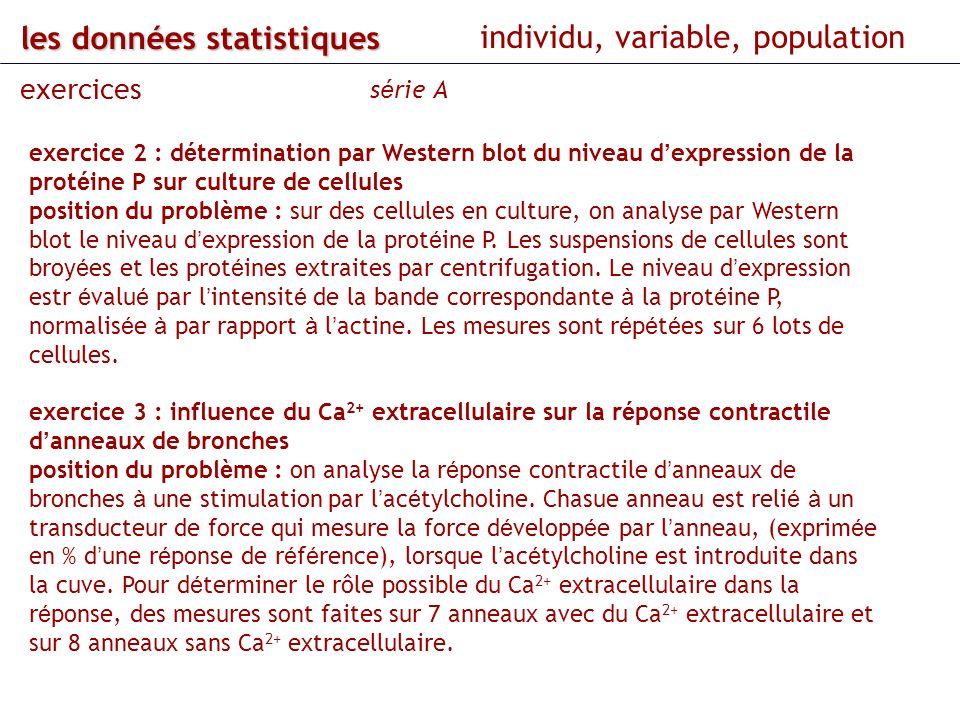 les données statistiques individu, variable, population exercices s é rie A exercice 2 : d é termination par Western blot du niveau d expression de la