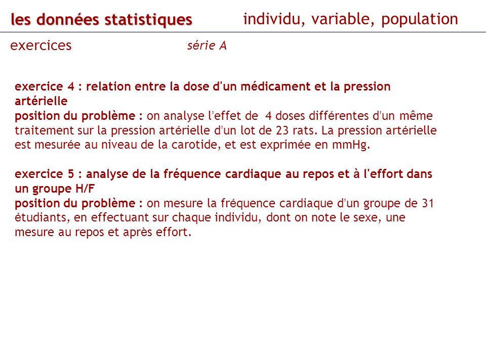 les données statistiques individu, variable, population exercices s é rie A exercice 4 : relation entre la dose d'un m é dicament et la pression art é