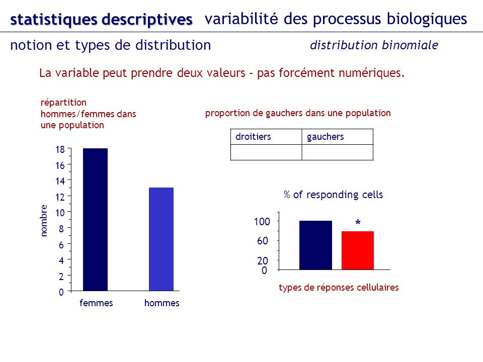 La variable peut prendre deux valeurs – pas forcément numériques. femmeshommes 0 2 4 6 8 10 12 14 16 18 nombre répartition hommes/femmes dans une popu