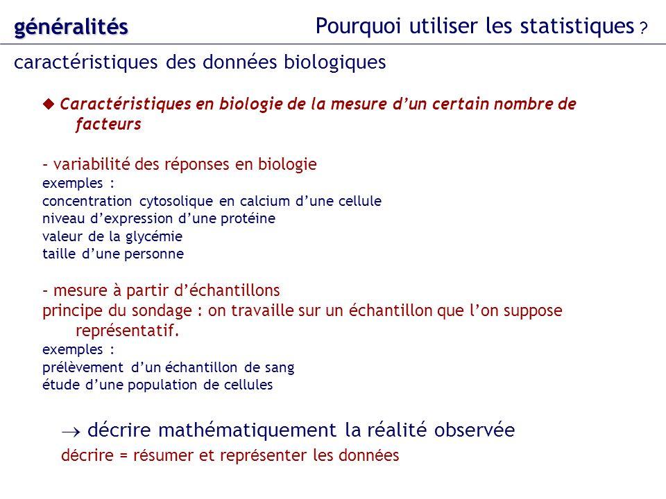 Caractéristiques en biologie de la mesure dun certain nombre de facteurs – variabilité des réponses en biologie exemples : concentration cytosolique e