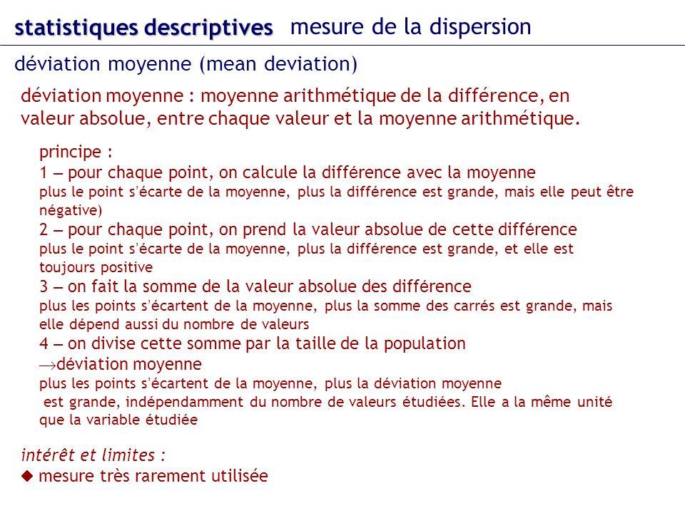 statistiques descriptives mesure de la dispersion d é viation moyenne (mean deviation) déviation moyenne : moyenne arithmétique de la différence, en valeur absolue, entre chaque valeur et la moyenne arithmétique.