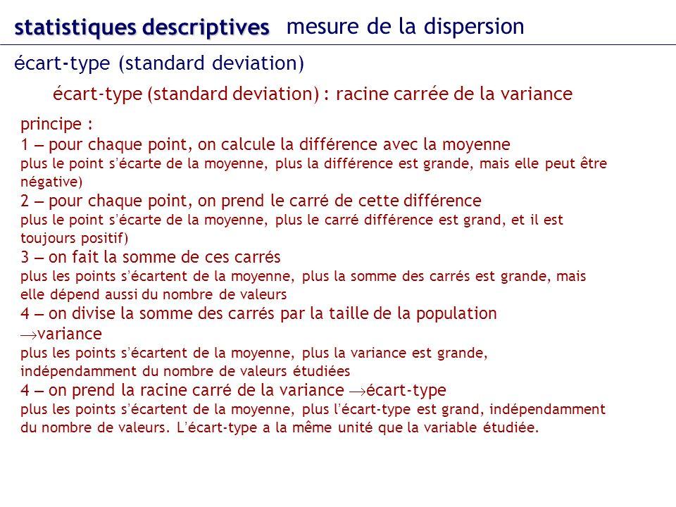 écart-type (standard deviation) : racine carrée de la variance statistiques descriptives mesure de la dispersion é cart-type (standard deviation) prin