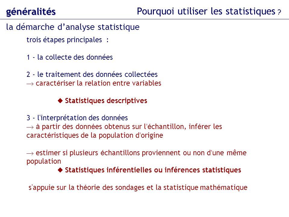 trois étapes principales : 1 - la collecte des données 2 - le traitement des données collectées caract é riser la relation entre variables Statistique