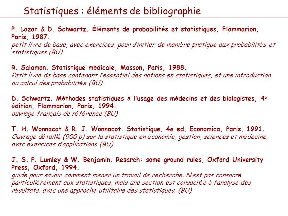 Statistiques : éléments de bibliographie P. Lazar & D. Schwartz. É l é ments de probabilit é s et statistiques, Flammarion, Paris, 1987. petit livre d
