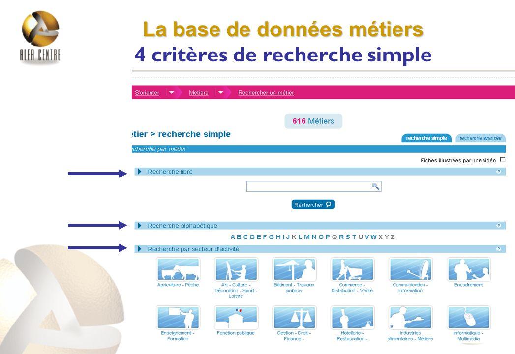 La base de données métiers La base de données métiers 4 critères de recherche simple